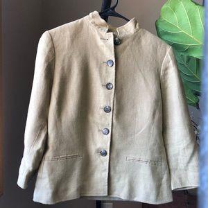Womens Lauren Ralph Lauren Tan Linen Blazer Jacket